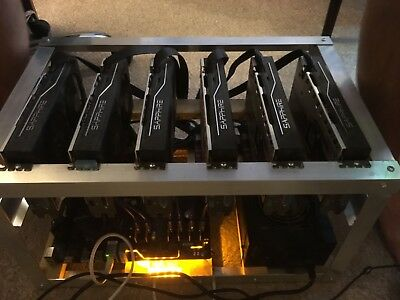 GPU Mining Rig with 6x RX570 Everything included and setup-Ready to mine 170Mhs