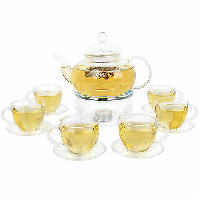 Kendal 27 oz glass filtering tea maker teapot with a warmer and 6 tea cups s2