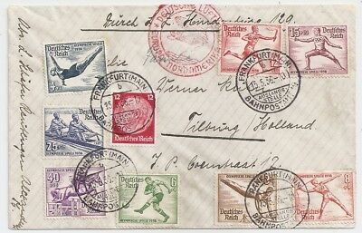 1936 Germany To Netherlands Zeppelin Cover, Olympic Sports Stamps