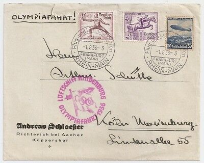 1936 Germany Zeppelin Cover, Olympic Flight Pink Pmk, Sports Stamps