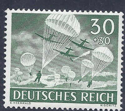 Nazi Germany Third Reich 1943 Para Troopers Jumping 30+30 Stamp  WW2 ERA