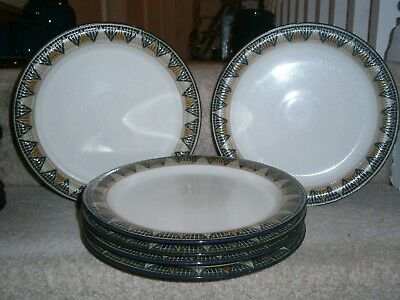6 Stylish Denby Boston Spa 10.25 Inch Dinner Plates Very Good Hardly Used Cond