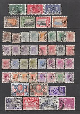 Hong Kong KGVI  fine used collection , 46 stamps