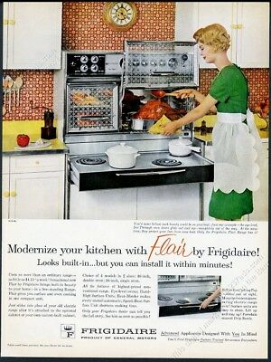 1961 Frigidaire Flair double oven pull-out range photo vintage print ad