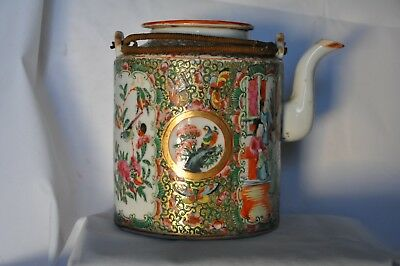 Theiere Ancienne Chinoise Porcelaine Famille Rose Antique Chinese Canton Tea Pot