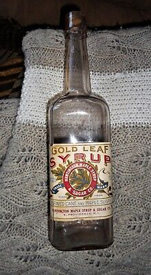 Qt. Attic find, label, Blown,  HUNTINGTON MAPLE SYRUP, Providence, R.I. NICE!