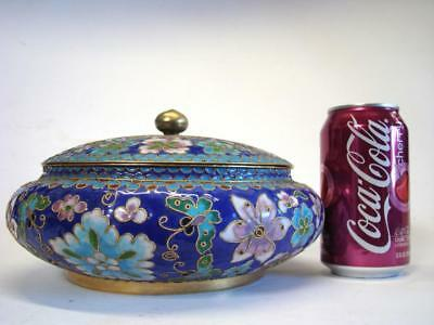 Royal Blue Cloisonne Floral + Butterfly Motif Bowl with Lid - Enamel on Brass