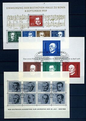 Germany Three miniature sheets from the 1950-60's mint and used
