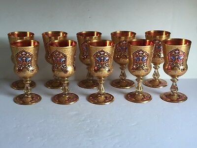 10pcs MOSER Cranberry Glass Parcel Gilt and Enamel Decorated Wine Goblets MUSEUM