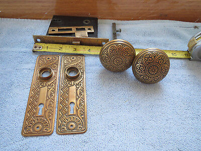 ANTIQUE Vintage Victorian EASTLAKE Brass Door Knob Set Working BRONZE LOCK PLATE