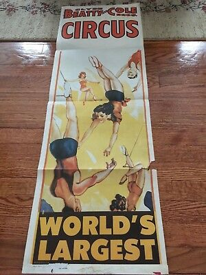 Original 1965 Clyde Beatty  & Cole Bros. Circus Poster Featuring Acrobats