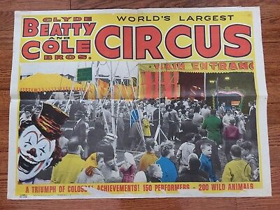 Original 1965 Clyde Beatty  & Cole Bros. Circus Poster / Acme Show Poster