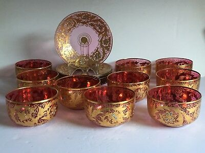 20pcs MOSER Cranberry Glass Parcel Gilt Enamel Decorated Finger Bowl + Plates