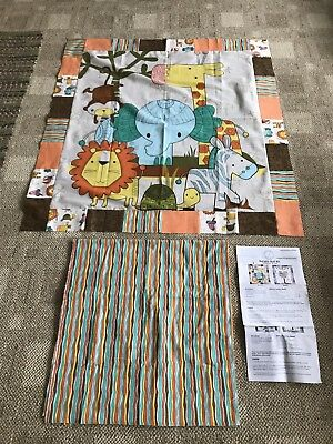 Vintage Baby Quilt Top Center Panel Pieced Flannel Border/backing Inc