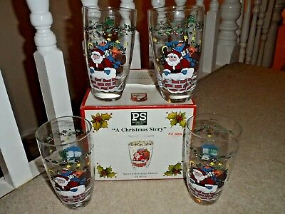 4 x PORTMEIRION STUDIO 'A CHRISTMAS STORY' NEW BEVERAGE GLASSES TUMBLERS SET BOX