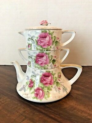 Vintage L'Amour Teapot Stacking Creamer Sugar Teapot Pink Roses Hand Painted