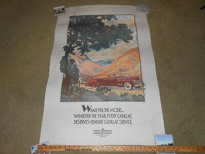 1941 CADILLAC CONVERTIBLE COUPE HUGE 28 by 42 ORIGINAL POSTER / BROCHURE 1984 ?