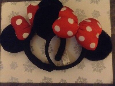 2x Minnie Mouse Plush Headband Ears, Disneyland Paris Classic Red Spotted Bow