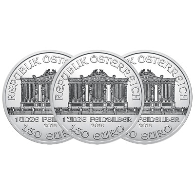 Lot of 3 - 2019 1.50 Euro Silver Austrian Philharmonic 1 oz Brilliant Uncirculat