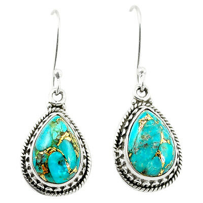 Blue Copper Turquoise 925 Sterling Silver Earrings Jewelry M37529