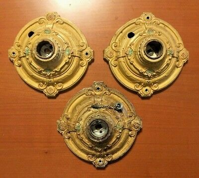 Vtg 1920s Set Of 3 Art Deco Cast Metal Flush Mount Ceiling Wall Light Fixtures