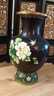 """Old Beaufiful Chinese Cloisonne Vase,Flowers & Bird, 10"""" Tall"""