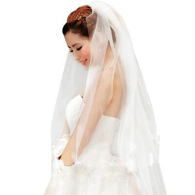 Fashion White Bridal Veil Flower Pattern Ribbon Edge Mantilla Wedding Accessory