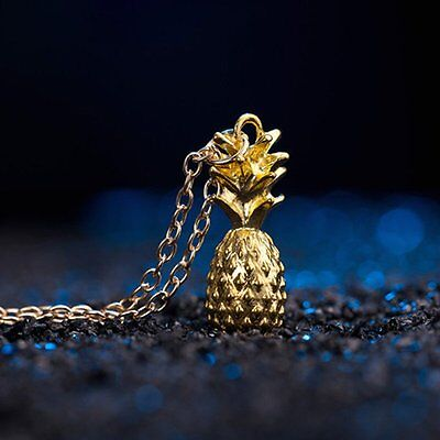 Fashion Charm Gold Tiny Pineapple Fruit Long Chain Necklace Pendant Jewellery