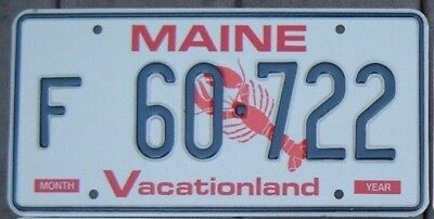 MAINE LOBSTER  License plate  F 60 - 722    Mint unused condition