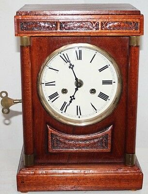 "Antique Large ""junghans B13"" Carved Cherry Mahogany Cabinet Clock W/ Gong Strike"
