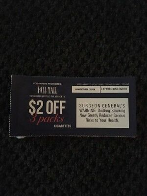 Pall Mall cigarette coupons $24 Expire 1/31/19