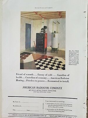 1929 American Radiator co red flash boiler hot water heater ad