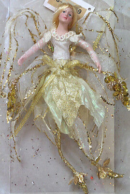 Nwt Katherine'S Collection Sparkle Fairy Angel Ornament Doll Gold Free Shipping