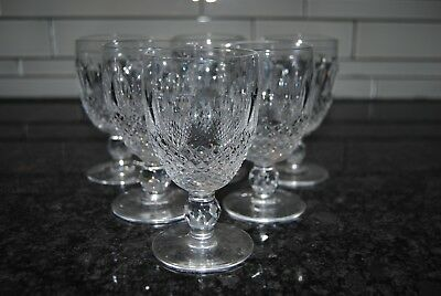 "Vintage Set of 6 Waterford Colleen Crystal Claret Wine Glass 4 3/4"" Signed!"
