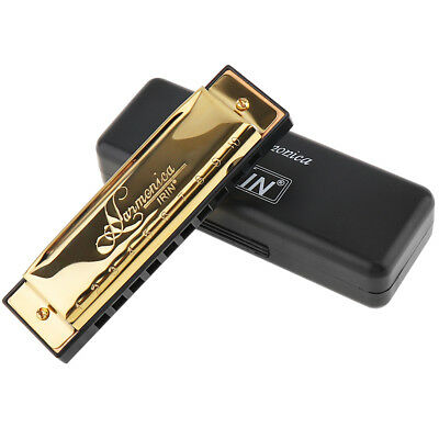 Gold Swan Harmonica 10 Hole Key of C for Blues Rock Jazz Folk Harmonica w/ Case