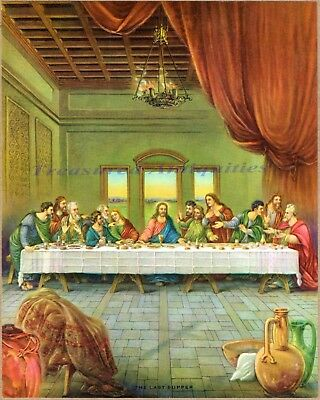 1920s-30s THE LAST SUPPER Jesus Christ Apostles Embossed Color Art Print Picture