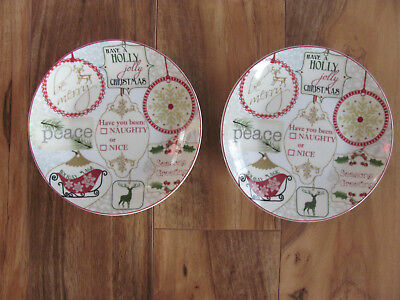222 Fifth-PTS Int'l- Christmas Tags Gift -Set of 2 Appetizer/Dessert Plates-New