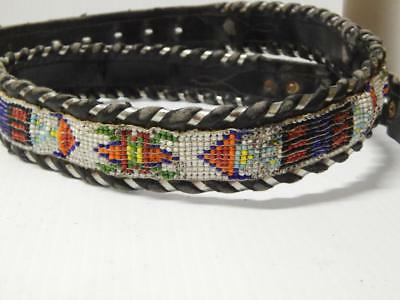 Vintage Western Cowboy Beaded Leather Belt Indian Dsgn Circle Y Silver Laced 36