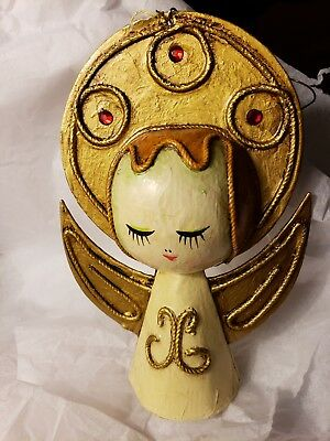 Vintage Mcm Mid Century Modern Paper Mache Angel Gold  Halo Christmas Ornament