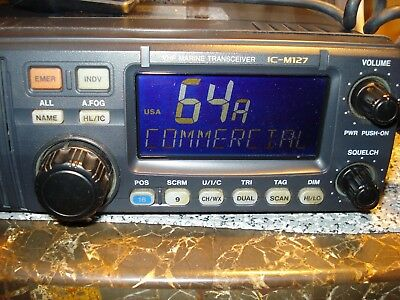 Icom IC-M127 Marine Radio Transceiver with Power Cord-Rebuilt Screen-Works Well!