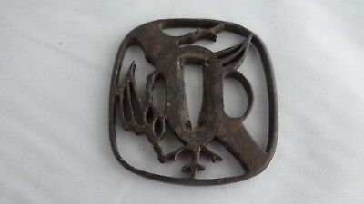Authentic Antique Edo Period Japanese Samurai Sword Open Work Iron Tsuba