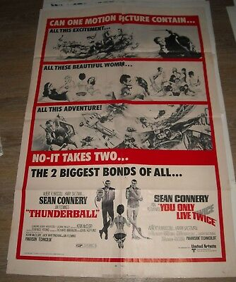 1970 Sean Connery Bond Double Feature 1 Sheet Movie Poster You Only Live Twice