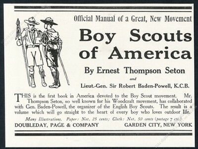 1911 Boy Scouts of America manual book release vintage print ad