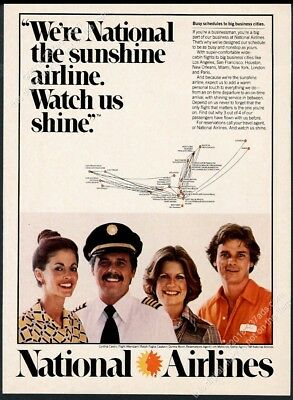 1977 National Airlines stewardess pilot photo system map vintage print ad