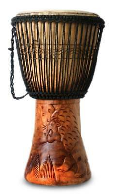 Lion Djembe Drum 'King of the Forest' Artisan Hand Carved West Africa NOVICA Art