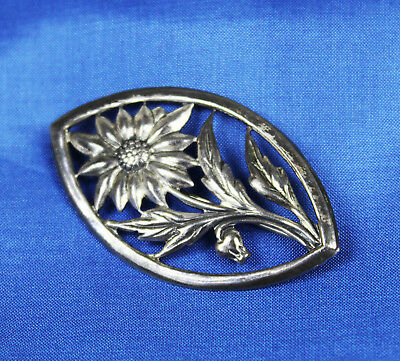 "Pretty Vintage Art Nouveau 1930s 1940s Sterling Silver Flower Brooch 2"" Size"