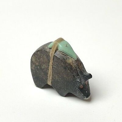 Vintage Zuni Carved Stone Bear with Turquoise Arrowhead Fetish
