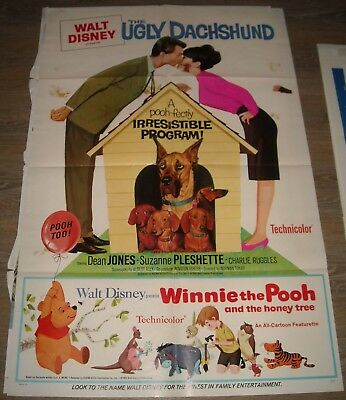 1966 DISNEY The UGLY DACHSHUND 1 SHEET MOVIE POSTER with WINNIE the POOH DOUBLE