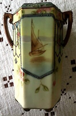 """Gorgeous hand painted Vintage Nippon Vase 4 1/2"""" tall Sailboat"""