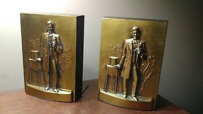 Pair Of Heavy Philadelphia Mfg. Hand Cast Abraham Lincoln Copper Bookends Nice